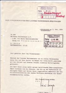 Danksagung des Innenministers Willi Weyer 1970